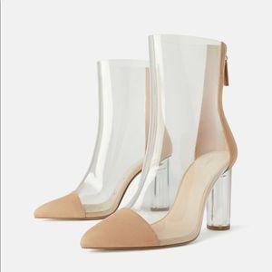 ZARA Heeled Vinyl Ankle Boots